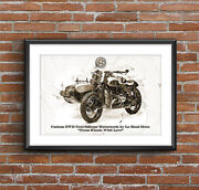 Ural Sidecar Custom 2wd By Le Mani Art Sketch Poster [without Frame]