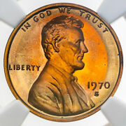 1970-s Large Date Lincoln Cent Ngc Pf66rd Unc Gem Light Toned Bu Color Dr