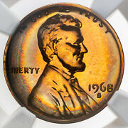 1968-s Lincoln Cent Ngc Pf67rb Proof Bu Color Unc Gem Neon Rainbow Toned Dr