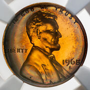 1968-s Lincoln Cent Ngc Pf66rb Proof Toned Bu Color Unc Gem Neon Rainbow Dr