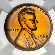 1968-s Lincoln Cent Ngc Pf67rd Proof Neon Rainbow Toned Bu Color Unc Gem Dr