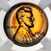 1968-s Lincoln Cent Ngc Pf66rb Proof Gem Neon Rainbow Toned Bu Color Unc Dr