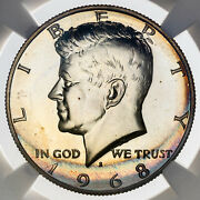 1968-s Kennedy Half Dollar Silver Ngc Pf66 Proof Unc Rainbow Toned Color Dr