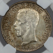 1935 G Sweden 1 Krona Silver Ngc Ms64 Only 6 Graded Higher Golden Toned Unc Dr