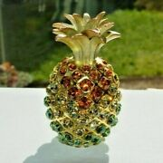 Pineapple By Rucinni Trinket Box Crystallized With 2 3/4 Inches Tall