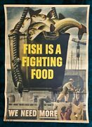 Wwii Ww2 Original World War Poster Fish Is A Fighting Food Homefront Production