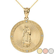 Solid Gold Diamond Our Lady Of Guadalupe Circle Medallion Large Pendant Necklace