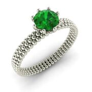 Certified 0.75 Ct Natural Emerald Solitaire Engagement Ring In 14k White Gold
