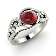 1.51 Ct Natural Ruby Engagement 14k White Gold Ring Inspired By Ocean Waves