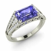 Tanzanite And Diamond Vintage Look Engagement Ring In Solid White Gold-2.04 Cttw