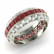 Certified Garnet And Si/gh Diamond Wedding Band/ring In 14k White Gold- 4.18 Ct