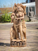 Old Sandstone Absara Lady Statue From India Middle 20th Century