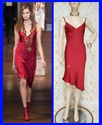 F/w 2014 Look 45 New Versace Silk Red Chemise Dress 38 - 2