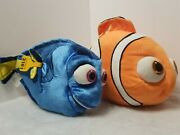 Lot Of 2 Disney Plush Toys Finding Nemo And Finding Dory 15 Nemo And 14 Dory Plush