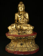 Antique Wooden Buddha Statue From Burma 19th Century