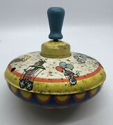 Vintage Ohio Art Tin Metal Classic Spinning Top Circus Train And Animals 3041179