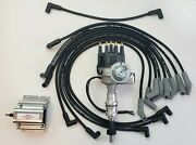 Ford 351w Small Cap Hei Distributor + 8.5mm Black Spark Plug Wires + 60k Coil