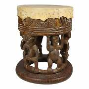 Vintage African Drum Style Carved Fertility Figures Side Table