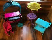 Monster High Doll House Furniture Lot/ Patio Table And Carts +