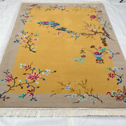 Yilong 4and039x6and039 Handwoven Chinese Art Deco Wool Rug Yellow Living Room Carpet