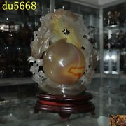 Chinese Feng Shui Natural Agate Onyx Carved Peach Wealth Animal Bat Coin Statue