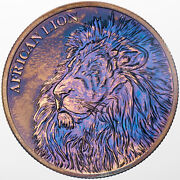 2018 Republic Of Chad African Lion 999 Silver Color Toned Unc Golden Blue Dr