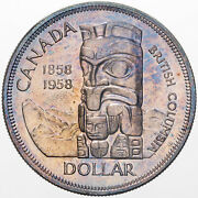 1958 Canada Totem Death Dollar Silver Unc Light Purple Toned Flawless Color Dr
