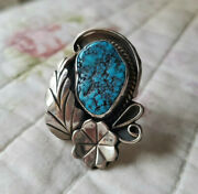 Vintage Sterling Silver 1.75 Turquoise Navajo Handmade Ring Size 6.5 No Marking