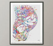 Pregnancy Watercolor Print Womb Pregnant Anatomy Gynecology Obstetrician-1096