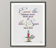 Les Miserables Victor Hugo Quote Inspirational Watercolor Art Print Decor Gift 2