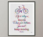 Bicycle Einstein Quote Watercolor Print Motivational Quote Sports Decor For Him