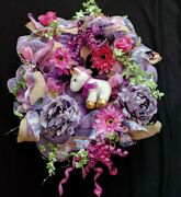 Shades Of Purple Pink Colorful Sparkle Unicorn Large 24 Deco Mesh Wreath New