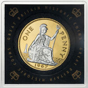 1967 Great Britain Historic Coins 1 One Penny Gold Silver Gilded 25 Dr