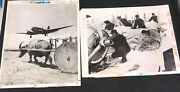 2x Wire Press Photo C.1940 Airplane Twin Prop And Crash In Snow Wreckage Miitary