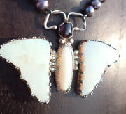 Vintage Antique Sterling Solid Australian Opal Wings And Body Butterfly Necklace