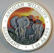 2014 Somalia 100 Shillings African Wildlife .999 Silver Colorized Sunset Dr