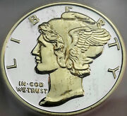 Nd Mercury Dime Design .999 Silver Round Icg Pr Genuine Gold Gilded 1 Dr