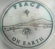 2013 Silver Shield Peace On Earth Icg Ms60 Details Cleaned Purple Art Toned Dr