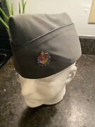 Vintage Wwii Army Garrison Cap Hat Leather Band With Pin Sz 7 1/8