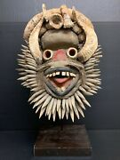 African Art We Guere Mask With Metal Stand