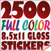 2500 Full Color Custom 8.5x11 Stickers On 70lb Label Printing With Uv Gloss