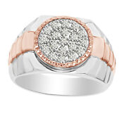Round Cut White Real Diamond Two Tone Menand039s Band Ring 10k Solid Gold 0.80 Ct
