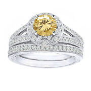 2.75 Ct Golden Moissanite Vintage-style Bridal Set Ring 10k Solid White Gold