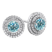 10k Solid White Gold 2.25 Ct Light Blue Moissanite Micropave Halo Stud Earrings
