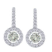 10k White Gold Lever Back Halo Drop Earrings 2.5 Ct Round Genuine Moissanite