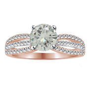 5.75 Ct Round Genuine Moissanite Bridal Engagement Ring In Sterling Silver