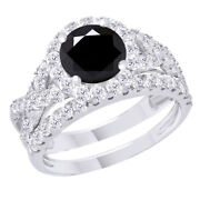 5.75 Ct Black Real Moissanite In 10k White Gold Engagement And Wedding Band Ring