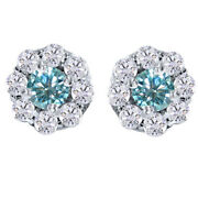 3 Ct Round Light Blue Genuine Moissanite Pave Halo Earrings In 10k White Gold