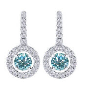 2.25 Ct Round Blue Moissanite Lever Back Halo Drop Earrings In 10k White Gold