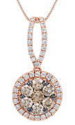 3/4 Ct Brown And White Real Diamond Cluster Pendant Necklace 14k Rose Gold